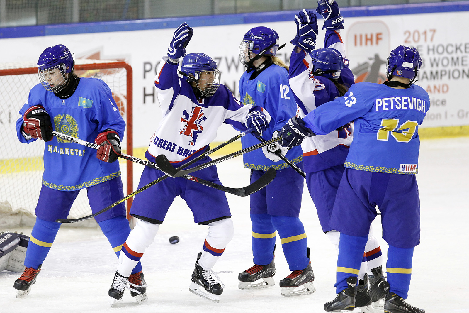 2017.01.14 KATOWICE ICE HOCKEY U18 WOMENS WORLD CHAMPIONSHIP POLAND KATOWICE DIVISION I - GROUP B KAZAKHSTAN - GREAT BRITAIN ON THE PICTURE - KATHRYN MARSDEN (GBR) CELEBRATE FOT. MICHAL CHWIEDUK